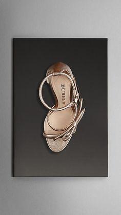 Metallic Leather Platform Sandals | Burberry