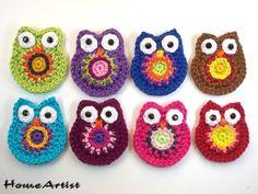 TRICO y CROCHET-madona-mía: Aplicaciones a crochet (ganchillo) Crochet Owls, Crochet Animals, Crochet Stitches, Knit Crochet, Crochet Patterns, Crochet Appliques, Crochet Ideas, Crochet Keychain, Crochet Earrings