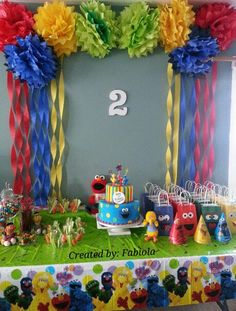 New Birthday Party Kids Sesame Streets Ideas Sesame Street Party, Sesame Street Birthday, Elmo Birthday, Boy Birthday Parties, Birthday Ideas, Kids Party Decorations, Sesame Street Decorations, Ideas Party, Diy Ideas