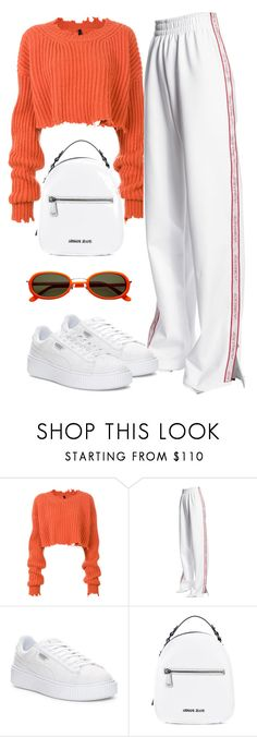 """Untitled #1471"" by wavvy-k ❤ liked on Polyvore featuring Unravel, Misbehave, Puma and Armani Jeans"