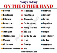 On the Other Hand Synonym! This page provides a list of 29 useful synonyms for ON THE OTHER HAND with example sentences in English. English Speaking Skills, English Vocabulary Words, Learn English Words, English Phrases, English Lessons, Teaching English, English Grammar, French Lessons, Spanish Lessons
