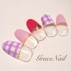 #nail #french #gara #studs #bow #plaid #rame #simple #cute #all #spring #summer #pink #purple