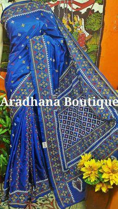 Embroidery Designs Free Download, Hand Embroidery Designs, Kutch Work Saree, Kutch Work Designs, Embroidery Works, Elegant Saree, Mirror Work, Pure Silk Sarees, Beautiful Saree