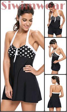 474f6e1bac Black White Polka Dot One-piece Swimdress