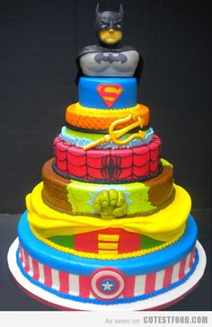 "Superhero Cake--perfect because Reed plans his bday all year and every few weeks asks for a different theme.  So this year a Cars, ""transfilmores"", ""rescue one""(aka captain america), superman, batman, super why birthday party."