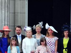 royalkents:  From left to right: Lady Amelia Windsor, Estella Taylor, Edward, Lord Downpatrick, the Duchess of Kent, Lady Helen Taylor, Eloise Taylor, Lady Marina Windsor and the Countess of St Andrews.  Trooping the Colour 2013.