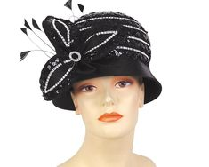1080307c0deb24 Ms Divine Collection Year-round hat. Covered with satin and embroidery  sequin lace band