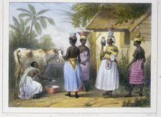 Milkmaid and Milk Sellers, Suriname, ca 1831
