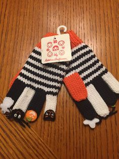 Hanna Andersson Girls Knit Halloween Gloves size Small 2-5 years NWT #HannaAndersson
