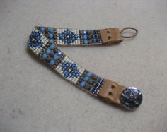 how+to+put+leather+end+on+bead+bracelet | Denim Blue, Woodsy Brown s, Cream Beaded Bracelet With Leather End ...