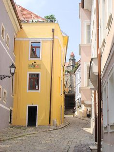 Old Bratislava Street... One of the oldest streets in Bratislava has name On The Hill. Notice tower of Bratislava Castle in the background.