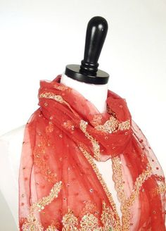 Coral Beaded Scarf Salmon Pink Tulle Scarf Formal door MiriTextiles