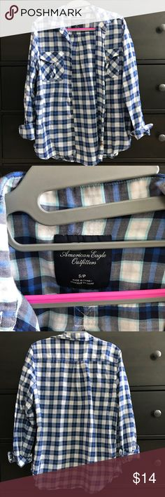 American Eagle soft button down 100% cotton, light weight plaid button down. Excellent condition American Eagle Outfitters Tops Button Down Shirts