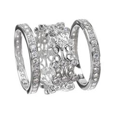 wide platinum and diamond stacked ring - Google Search