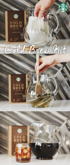 How to make cold brew with a Starbucks Cold Brew Kit: Add one coffee packet to any 48oz pitcher. Fill with cool water. Refrigerate 24 hours. That's it! Shop online now.