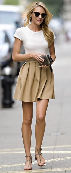 perfect simple summer look! white t-shirt and tan skirt with pretty flat sandals.