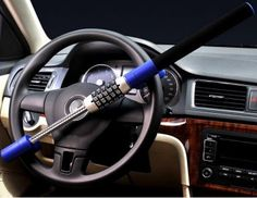 Steering Wheel Lock Universal Vehicle Car Truck Van SUV Keyless Password Coded Twin Hooks Extendable Retractable Heavy Duty Security Guard Anti Theft steel plastic blue, by LC Prime Car Hacks, Car Ins, Locks, Vehicles, Security Guard, Diving, Pakistan, Twin, Safety