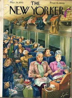 Constantin Alajalov, [cover art] Color Illustration, Print art (man and woman having lunch on train) Authentic oringial vintage, (cover only) 1945 the New Yorker Magazine Art The New Yorker, New Yorker Covers, Book And Magazine, Magazine Art, Magazine Covers, Old Magazines, Vintage Magazines, Capas New Yorker, Vintage Illustration Art