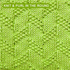 Diagonal Moss Stripe - knitting in the round - Knit - Purl stitches Loom Knitting Stitches, Knitting Help, Dishcloth Knitting Patterns, Knit Dishcloth, Knitting Charts, Knit Patterns, Stitch Patterns, Knitted Washcloths, How To Purl Knit