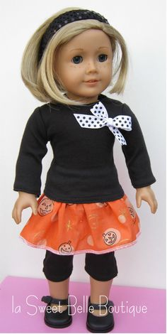 American Girl Doll Clothes Halloween Top,Skirt, and Leggin Set, what a cute set for holloween