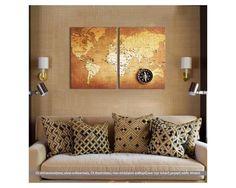 Παγκόσμιος χάρτης, δίπτυχος  πίνακας σε καμβά (multipanel)