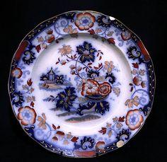 1800-1830  Rare Minton's Amherst Japan Hand Painted Cobalt Blue Porcelain Charger