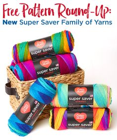 Do you have any Red Heart Super Saver Yarn stashed? Here are some fun FREE patterns for you to try with your yarn! #redheartyarns #joycreators