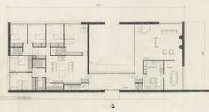 Marcel Breuer - Hooper House II, upper level plan, 1957