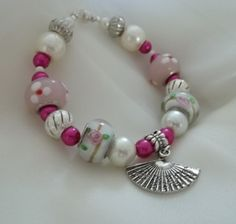 "Pink Euro Inspired Bracelet with ""Fan"" Charm"
