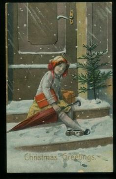 LOVELY ANTIQUE CHRISTMAS POSTCARD GIRL AT DOOR 20512FP