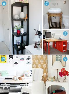 Roundup: 10 Clever IKEA Table Hacks  // I love the bright colored desk!