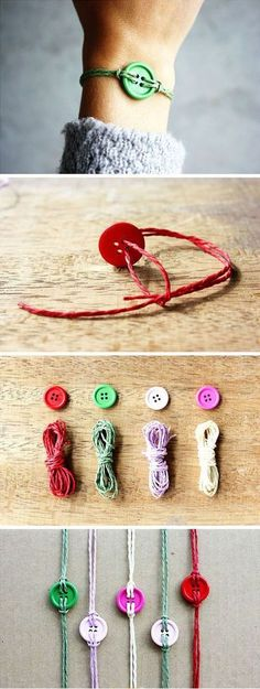 Pinned onto DIY Fashion Board in Fashion and Beauty Category Button Bracelet, Bracelets, Diy And Crafts, Crafts For Kids, Recycling, Presents For Boyfriend, Diy Buttons, Diy For Girls, Diy Fashion