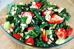 Kale, Strawberry and Avocado Salad Recipe - 5 Points + - LaaLoosh.  Use date syrup instead of honey.