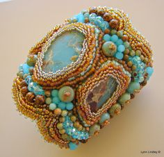 *Starlight* ~ Bead embroidered cuff bracelet with Aqua Terra Jasper.  Photos and description at: http://articreate.blogspot.com/  by Lynn Lindley.  She is my dear dear friend, and she gave me THIS BRACELET  for Christmas.  How blessed am I!