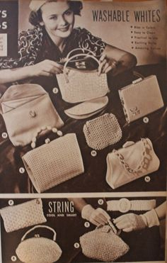 "1930s bags, handbags, purses. ""Washable whites"" were ideal bags in summer."