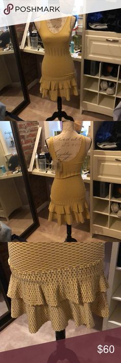 Sleeveless Dress with Small Designs Mustard yellow with gold shimmer designs and flowy bottom Torn by Ronny Kobo Dresses Midi