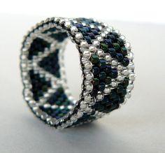 Iris Beaded Ring Chevron Pattern Beadwork Ring Zig Zag Peyote Bead Weaving Unisex Jewelry Custom Size Made To Order Bead Woven Band. $11.00, via Etsy.
