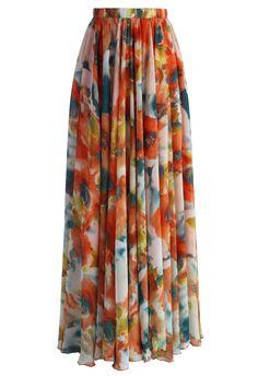 Orange Blossom Watercolor Maxi Skirt - New Arrivals - Retro, Indie and Unique Fashion