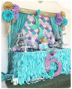 Beautiful ideas for decorating a food stand in a mermaid birthday party for girl. - Beautiful ideas for decorating a food stand in a mermaid birthday party for girls (or boys). Mermaid Theme Birthday, Kids Birthday Themes, Little Mermaid Birthday, Little Mermaid Parties, Boy Birthday Parties, Girl Birthday, Princess Birthday, Birthday Quotes, Birthday Gifts