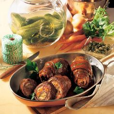 Rouladen - serve with potato balls and red cabbage