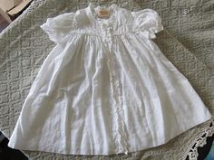 Vintage White Cotton Baby Dress Sasson Bros. Hand Made In