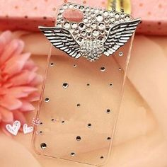 3d Bling Crystal Angel Wings Transparent Case, Cover for Apple Iphone4, 4g and 4s