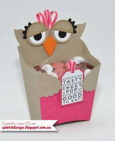 Splotch Design - Jacquii McLeay - Stampin Up - Cute Owl Fries Box