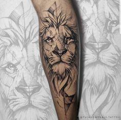 Lion Leg Tattoo, Calf Tattoo Men, Lotusblume Tattoo, Tattoo Font For Men, Lion Tattoo Sleeves, Lion Head Tattoos, Wolf Tattoo Sleeve, Mens Lion Tattoo, Arm Tattoos For Guys