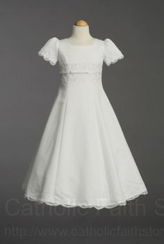 a3b55c9311 First Communion Dress with Satin Embroidery