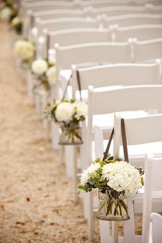 White hydrangeas down the aisle