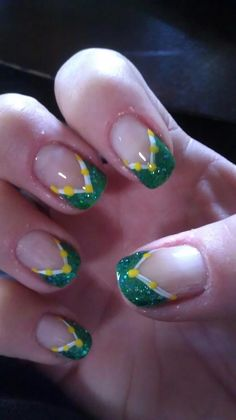 These Green Bay Packers nails were done on a Sunday that I was attending a new church so I tried to tone it down a little. Packer Nails, Sports Nail Art, Small Canvas, Mani Pedi, Green Bay Packers, Christmas Nails, Pretty Nails, Hair And Nails, Nail Art Designs