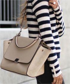Striped Blouse Beige Bag Via Vogue Spain March 2014