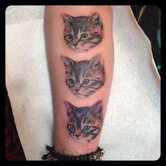 Super duper rad kitty cats tattoo by @Kat Von D