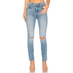GRLFRND Karolina High-Rise Skinny Jean ($250) ❤ liked on Polyvore featuring jeans, distressed jeans, high waisted ripped skinny jeans, high-waisted jeans, skinny jeans and destroyed skinny jeans